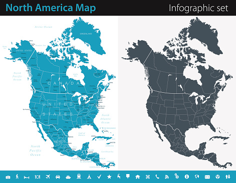 Vector maps of the North America with variable specification and icons