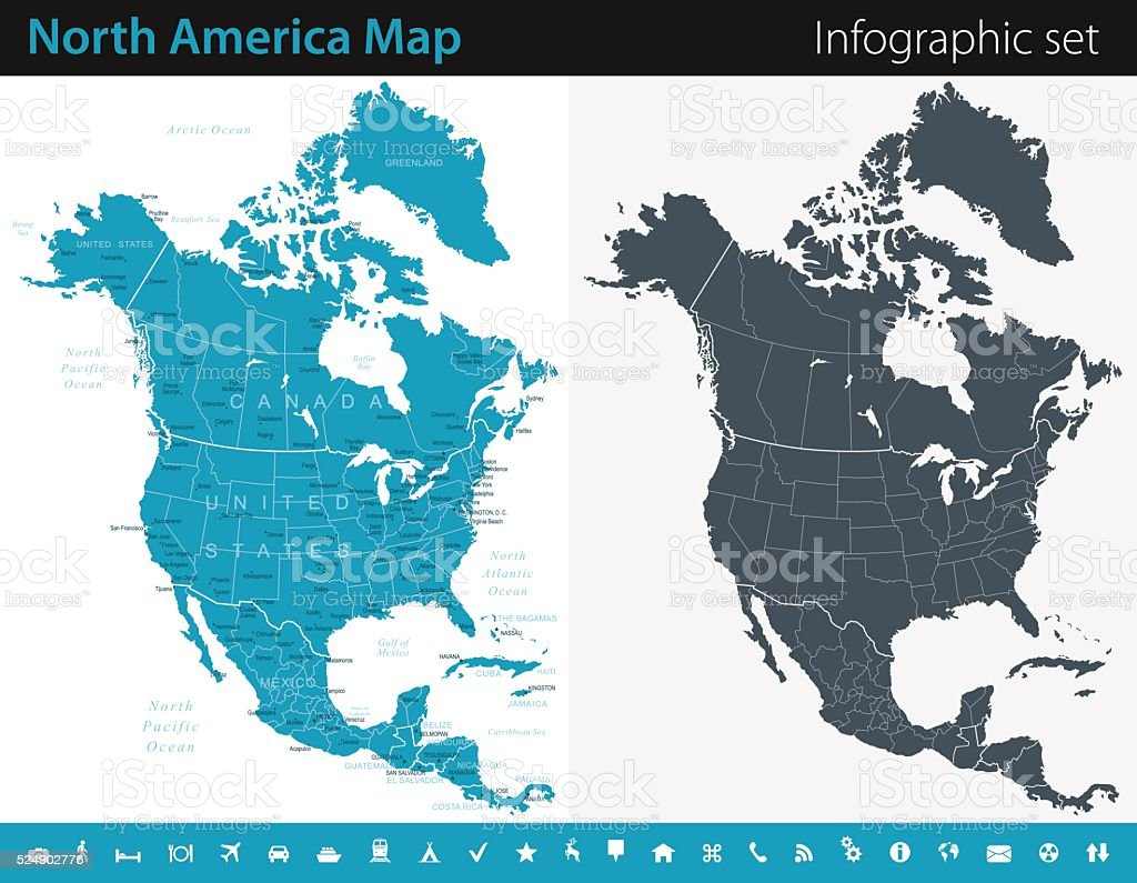 North America Map - Infographic Set vector art illustration