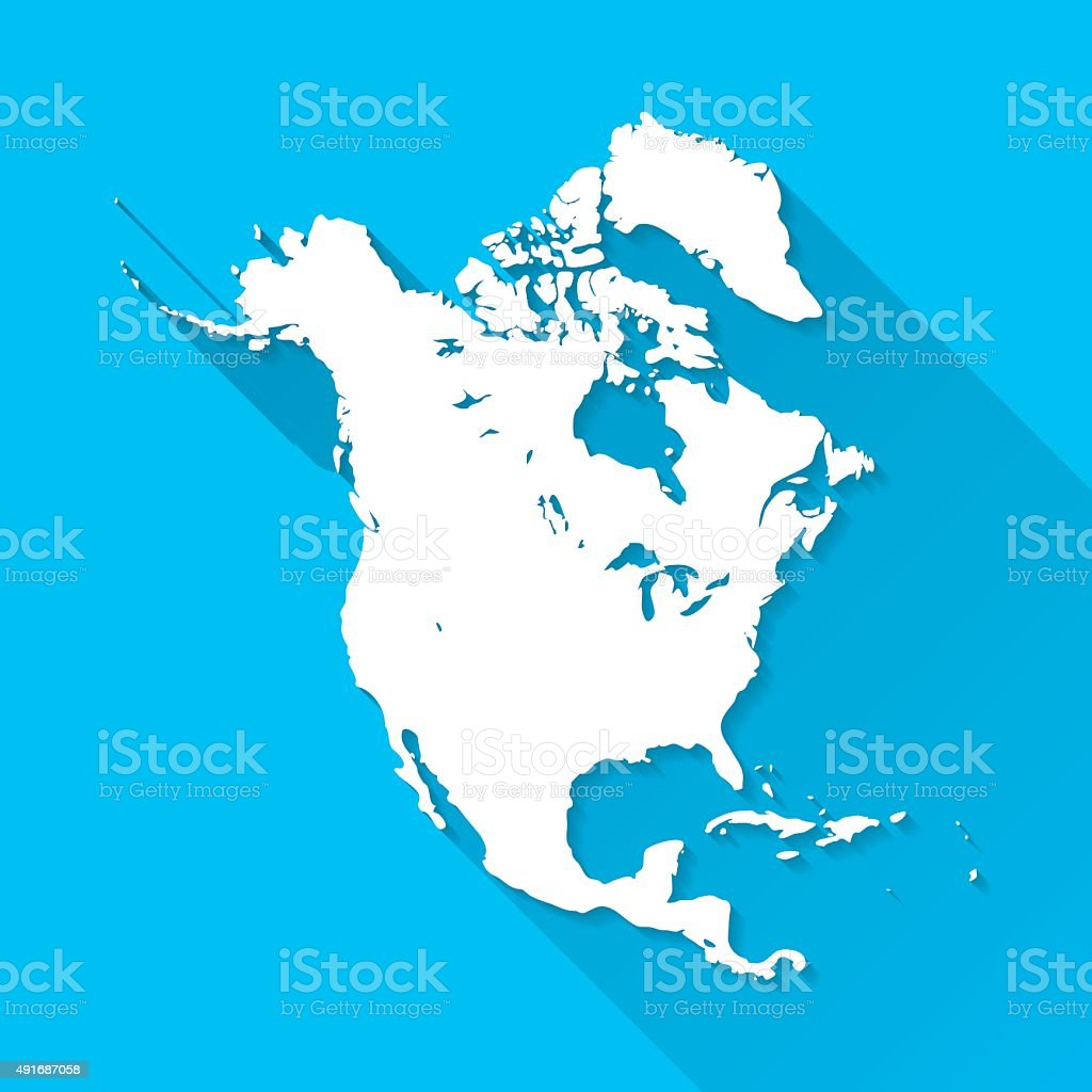 North America Map on Blue Background, Long Shadow, Flat Design vector art illustration