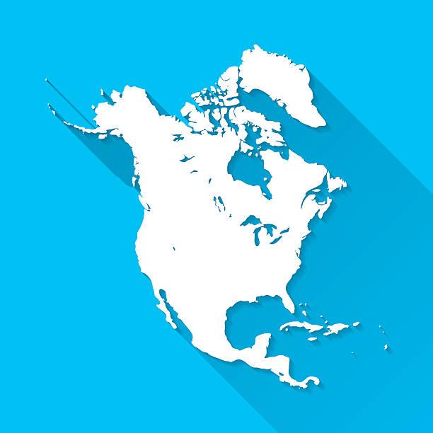 bildbanksillustrationer, clip art samt tecknat material och ikoner med north america map on blue background, long shadow, flat design - saint lucia