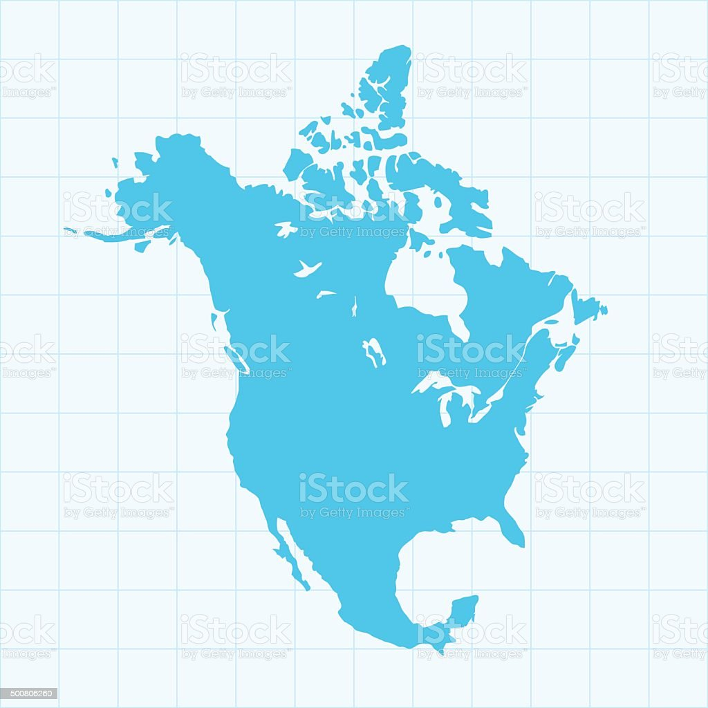 North America map on grid on blue background vector art illustration
