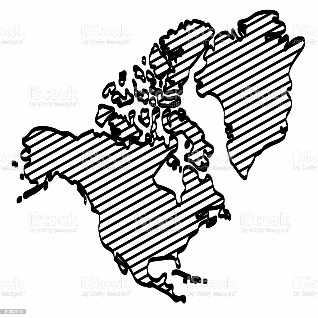 America Map Drawing.North America Map Outline Graphic Freehand Drawing On White