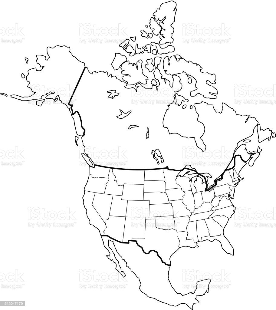North America Map Outline White Background Stock