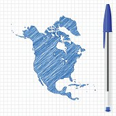 Map of North America drawn with ballpoint pen, isolated on a squared paper sheet.