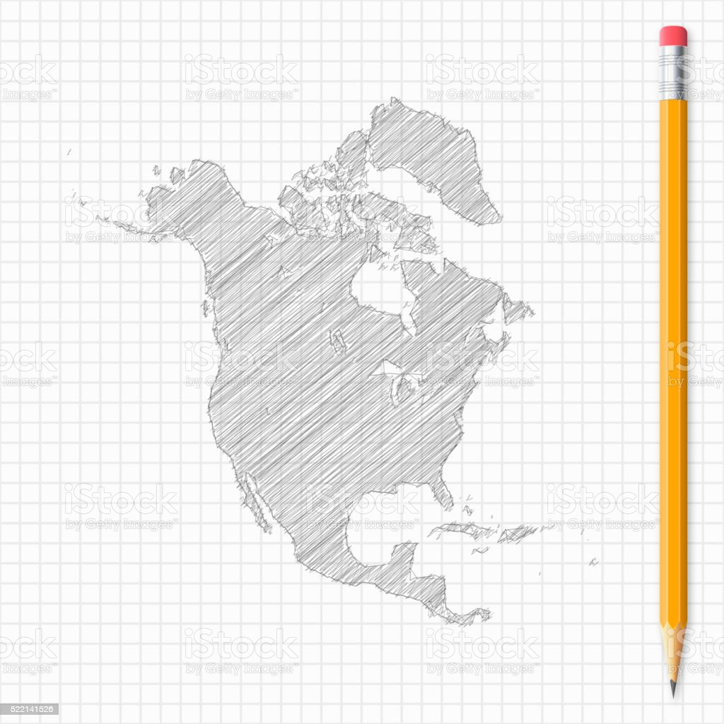 North America Map Sketch With Pencil On Grid Paper Stock Vector Art ...
