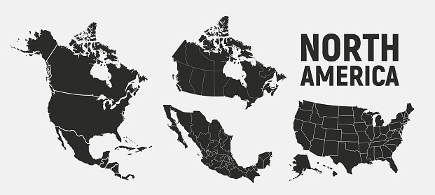 North America map templates. USA, Canada and Mexico map isolated on white background. North America maps set. Vector illustration