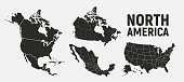 istock North America map templates. USA, Canada and Mexico map isolated on white background. North America maps set. Vector illustration 1264360632