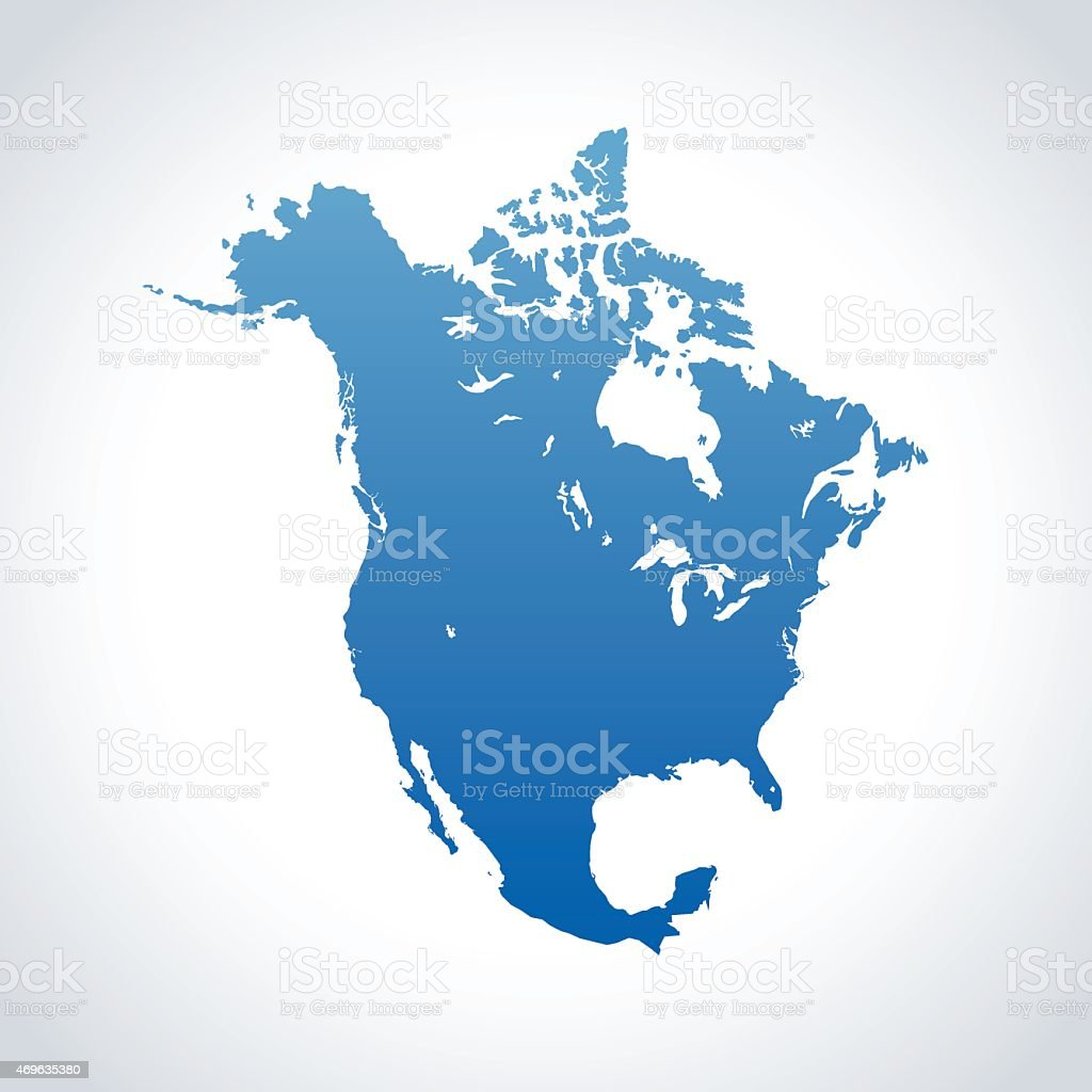 North America map vector art illustration
