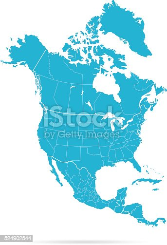 Empty Blue Map of the North America