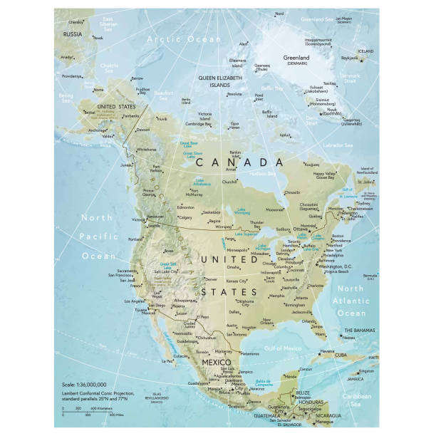 north america map - north america maps stock illustrations, clip art, cartoons, & icons