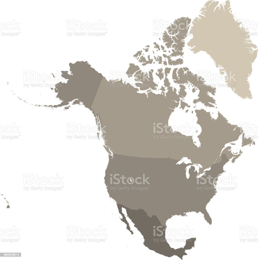 North America Map Vector Outline With Countries Borders In Gray ...