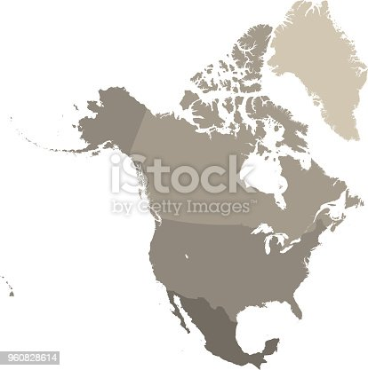istock North America map vector outline with countries borders in gray background. Highly detailed accurate map of North American countries including USA, Canada, and Mexico 960828614