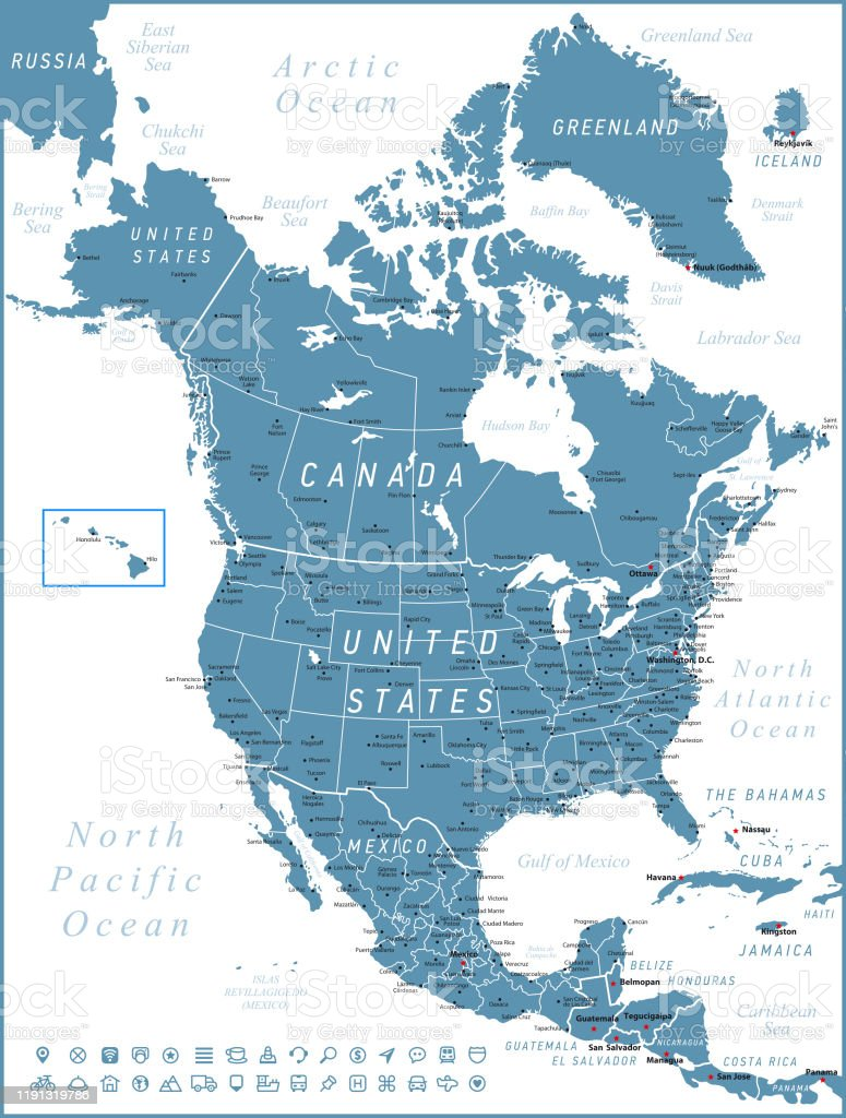 Picture of: North America Map Vector United States Canada And Mexico With Navigation Icons Stock Illustration Download Image Now Istock