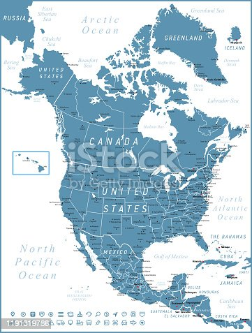 istock North America Map. Vector United States, Canada and Mexico with navigation icons 1191319786