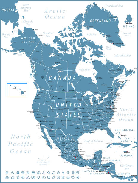 North America Map. Vector United States, Canada and Mexico with navigation icons North America Map with United States, Canada, Mexico and Cuba  Map was found: http://legacy.lib.utexas.edu/maps/americas/txu-oclc-71353734-north_america_pol_2006.jpg Map was found: http://legacy.lib.utexas.edu/maps/united_states/united_states_pol02.jpg Created with Adobe Illustrator with splines 01-12-2019 greenland stock illustrations