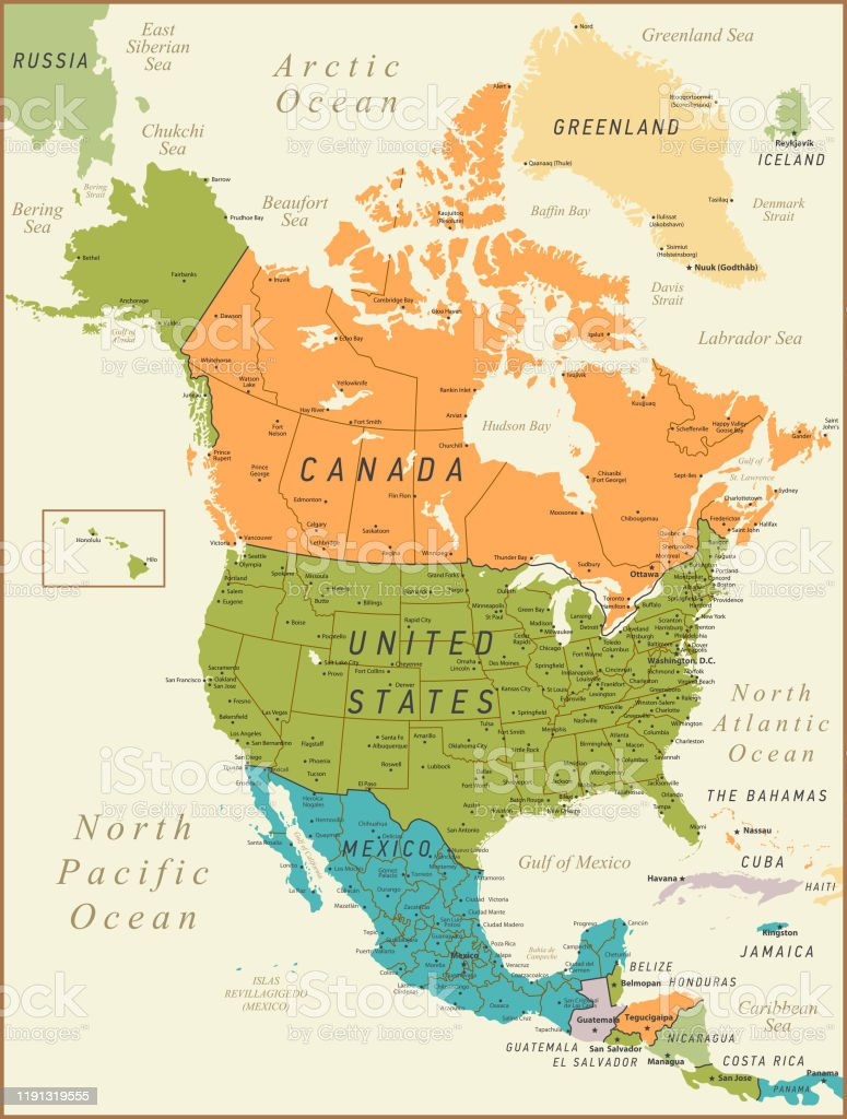 Image of: North America Map Vintage Illustration With Canada United States And Mexico Stock Illustration Download Image Now Istock