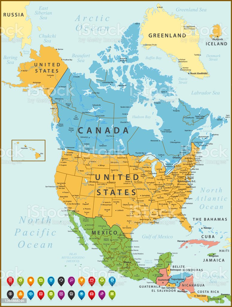 Picture of: North America Map Vintage Map With United States Canada Mexico Cuba Iceland Jamaica Geographical Borders And Rivers Stock Illustration Download Image Now Istock