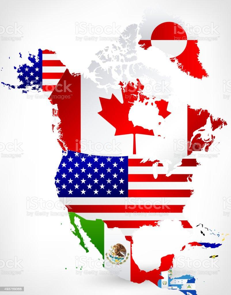 Nordamerika Karte und Flags 2 – Vektorgrafik