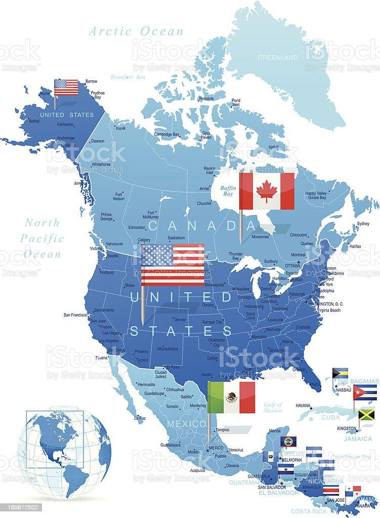 北米マップ、旗 ベクターアートイラスト