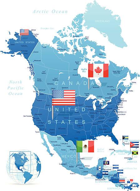 北米マップ、旗 - メキシコの国旗点のイラスト素材/クリップアート素材/マンガ素材/アイコン素材