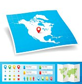 Map of North America with design elements, isolated on white background.