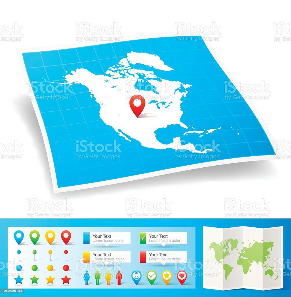 North America Map with location pins isolated on white Background vector art illustration