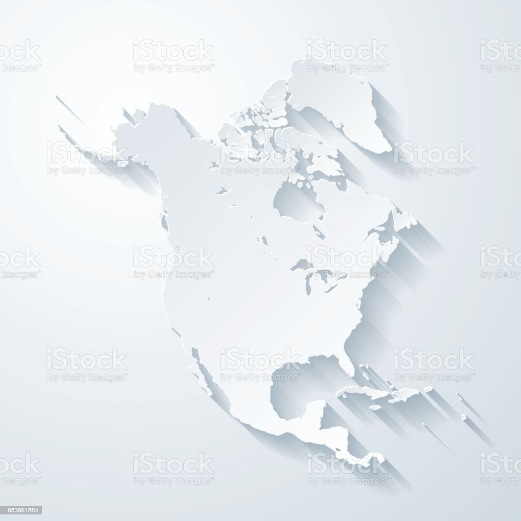North America map with paper cut effect on blank background vector art illustration