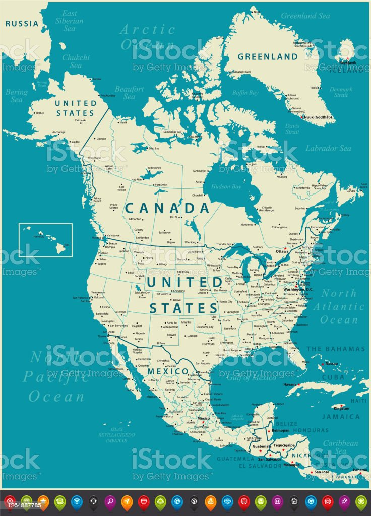 Picture of: North America Map With United States Mexico And Canada Geographical Borders Stock Illustration Download Image Now Istock