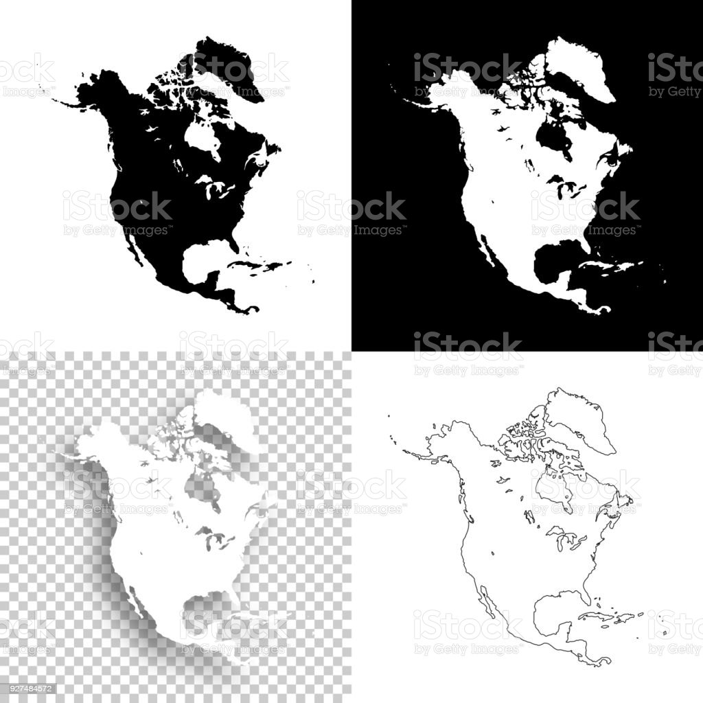 North America Maps For Design Blank White And Black Backgrounds