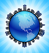 North America on Rural Cityscape Skyline Background. The main object in this illustration is depicted inside a circle in the center of the composition, there is a rural street cityscape design going around the circle to indicate the suburban setting of the image. The buildings include a variety of houses and suburban architectural structures. This image is ideal for real estate and  life concepts.
