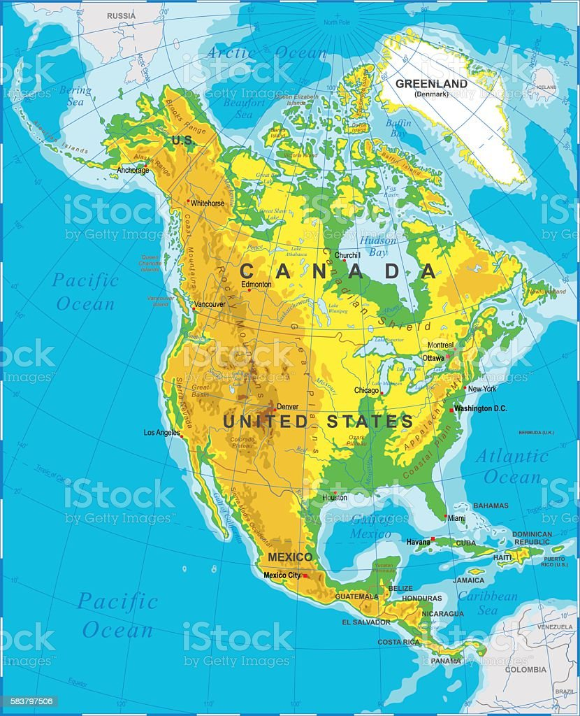 North America Physical Map Stock Illustration - Download ...