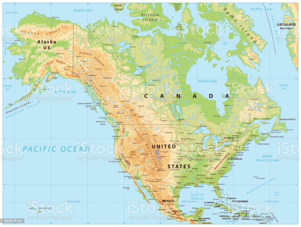 North America Physical Map Stock Vector Art & More Images of Canada ...