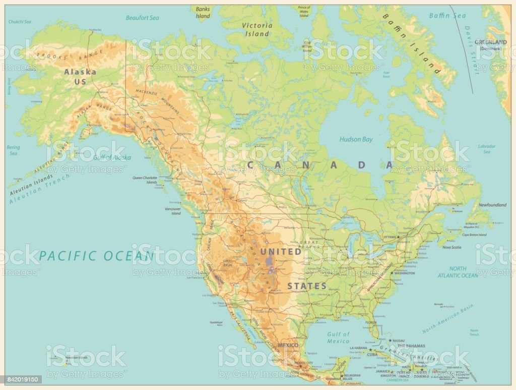North America Physical Map Vintage Color Stock Vector Art & More ...