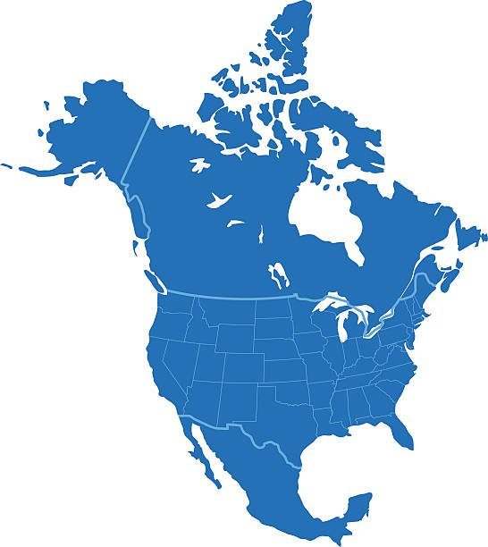 north america simple blue map on white background - north america maps stock illustrations, clip art, cartoons, & icons