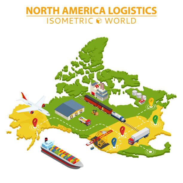 ilustraciones, imágenes clip art, dibujos animados e iconos de stock de logística y transporte de américa del norte. entrega y envío de elementos de infografía. - viaje a canadá