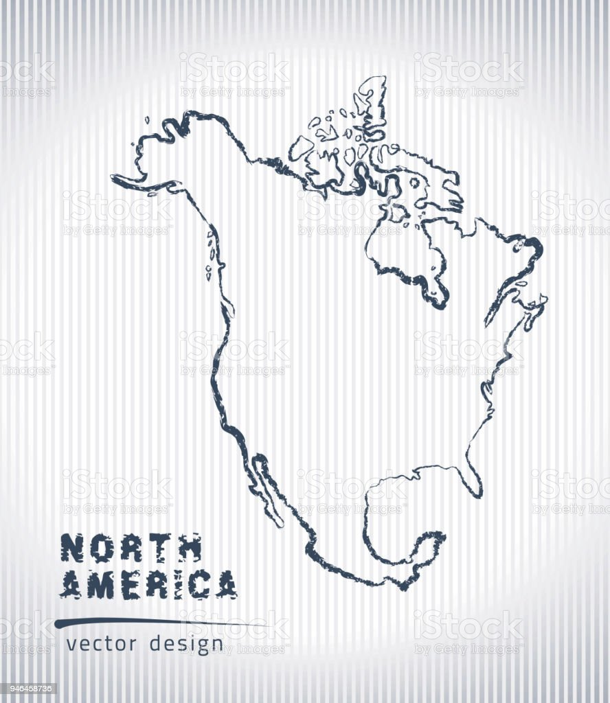 Map Of America Drawing.North America Vector Chalk Drawing Map Isolated On A White
