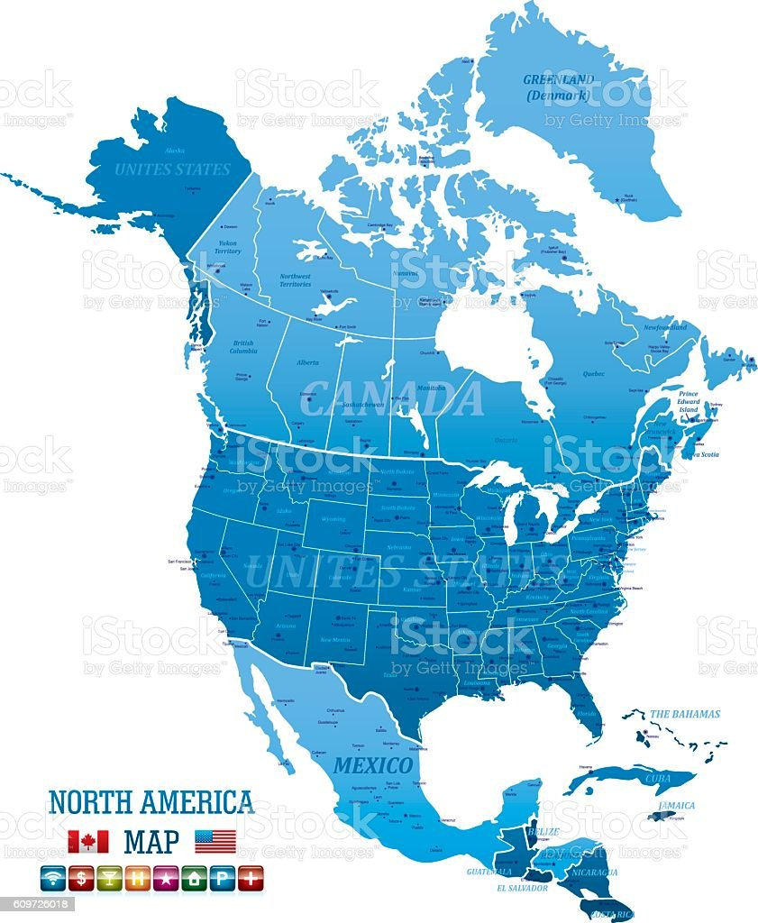 North america vector map stock vector art more images of blue globe navigational equipment world map canada cuba guatemala gumiabroncs Image collections
