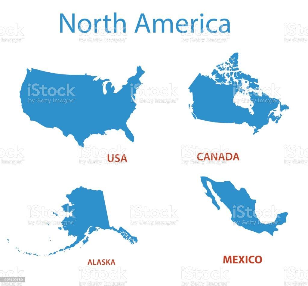 north america - vector maps of territories vector art illustration
