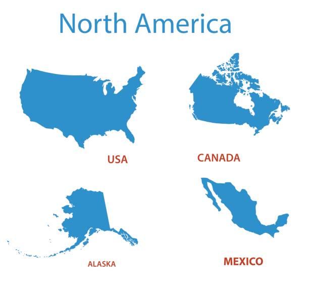 ilustraciones, imágenes clip art, dibujos animados e iconos de stock de américa del norte - mapas vectoriales de los territorios - siluetas de mapas