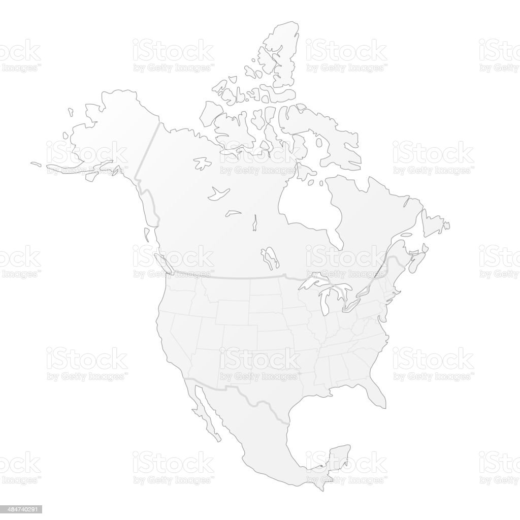 North America white map vector art illustration