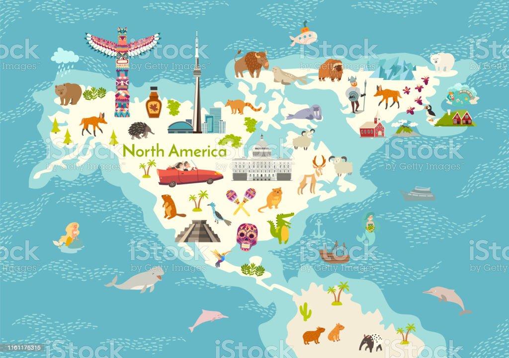 North America World Map With Landmarks Vector Cartoon Illustration Stock Illustration Download Image Now Istock
