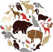 North American Animal Icon Set