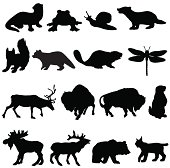 A selection of vector silhouettes of North American animals.