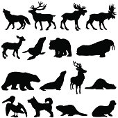Vector silhouettes of North American animals, many can be found in Alaska and Canada.