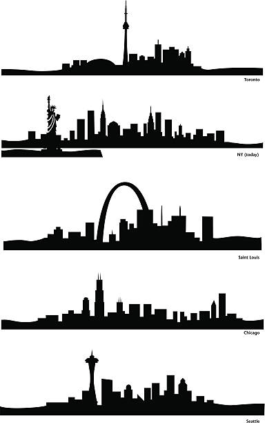 북미어 도시행 - st louis stock illustrations