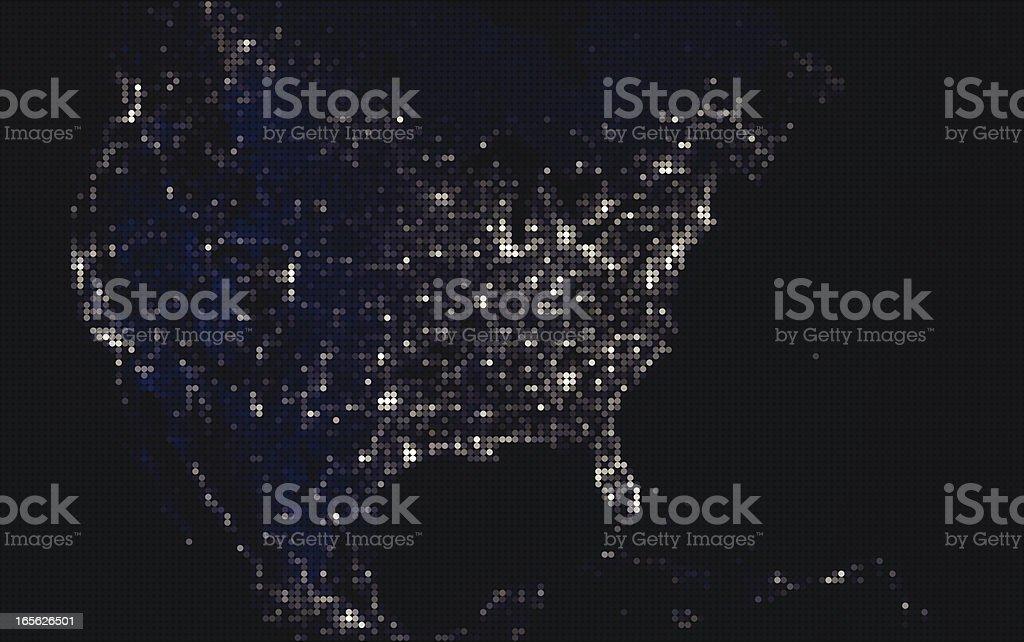 North American Mosaic of Lights at Night vector art illustration