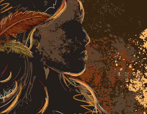 North American Native woman profile