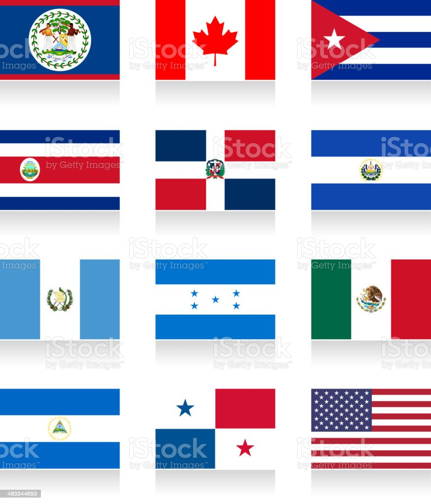 North And Central America Flag Collection Stock Illustration Download Image Now Istock