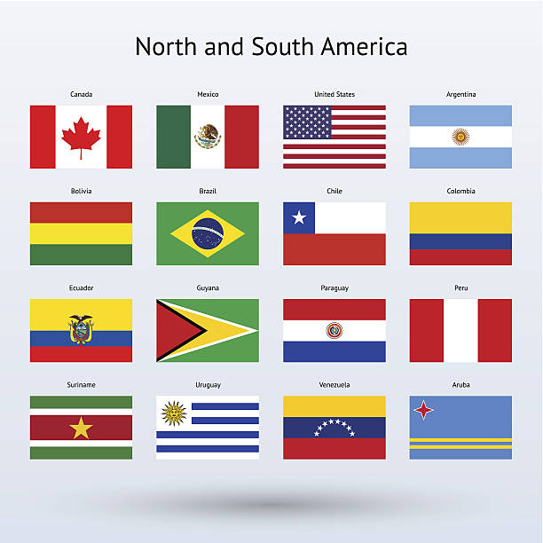 north and south america flags collection - ecuador flag stock illustrations