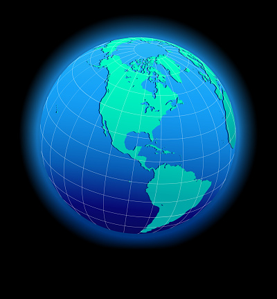 North and South America Global World in Space